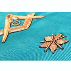 Cordon de Maitre, RF, équerre, compas, myosotis, acacia, décors franc-maconnerie, bijoux, FM, décors maçonniques, cadeaux, or