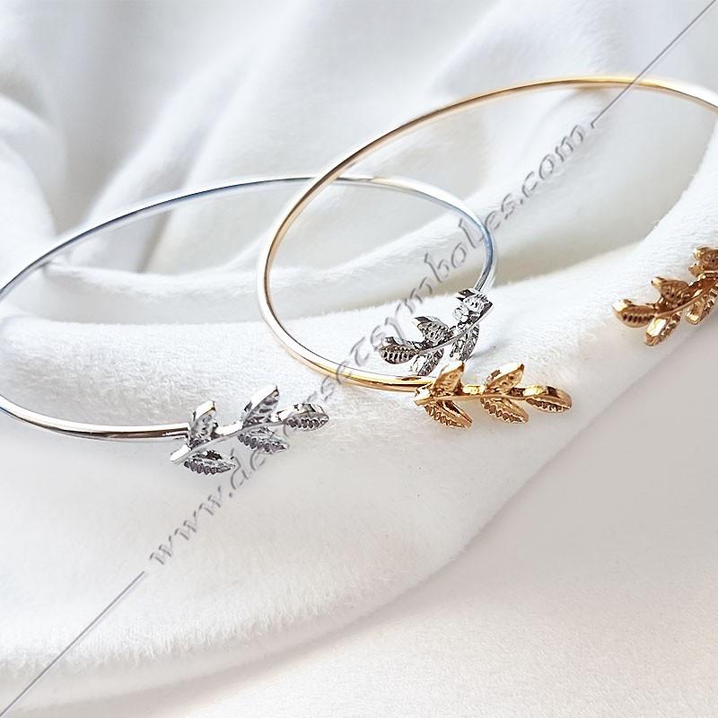 BFM100- Bracelet jonc acacia, acier or argent, bijoux fantaisie, cadeaux maconniques femmes, decors, symboles FM