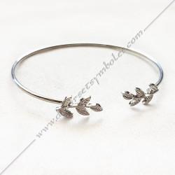 Bracelet jonc acacia, acier or, argent, bijoux fantaisie, cadeaux, objets maconniques femmes, decors,