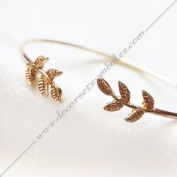 Bracelet jonc acacia, acier doré bijoux fantaisie, cadeaux objets maconniques femmes, decors,