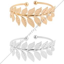 MSC290- bracelet-jonc-manchette-branche-acacia-or-argent-bijoux-fantaisie-cadeaux-maconniques-femmes-decors-symboles-fm