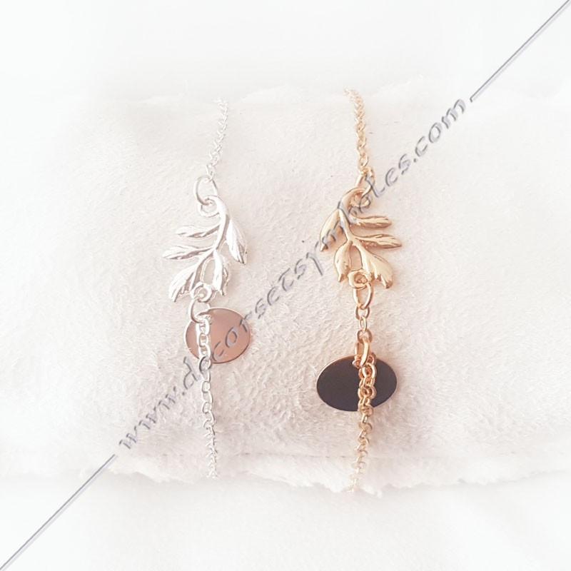 MSC280- bracelet-fin-chaine-acacia-or-argent-bijoux-fantaisie-cadeaux-maconniques-femmes-decors-symboles-fm
