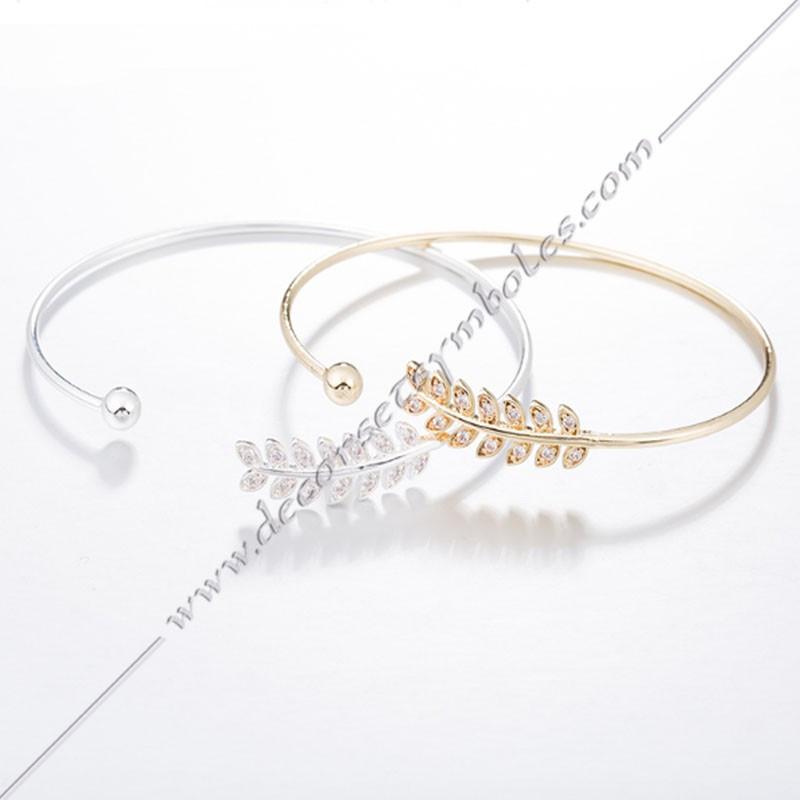 MSC201- bracelet-jonc--branche-acacia-or-argent-bijoux-fantaisie-cadeaux-maconniques-femmes-decors-symboles-fm