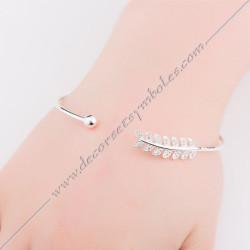 bracelet-jonc--branche-acacia-diamants-or-argent-bijoux-fantaisie-cadeaux-maconniques-femmes-decors-symboles-fm