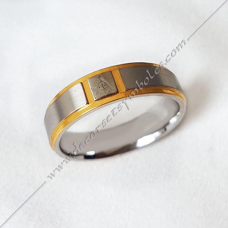 BFM020- bague-maconnique-acier-or-equerre-compas-G-bijoux-loges cadeaux-franc-maconnerie-loges