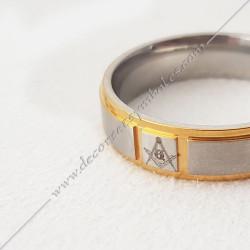 bague-maconnique-acier-or-equerre-compas-G-bijoux-loges cadeaux-franc-maconnerie-loges