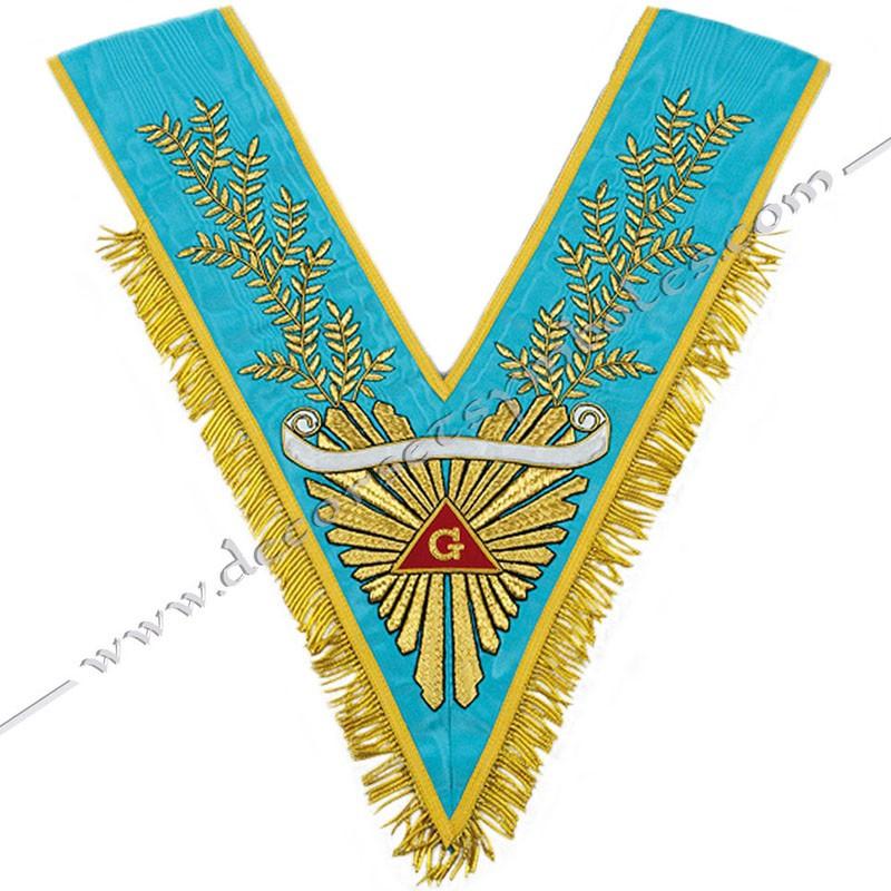 VRF 072B - Sautoir de Vénérable Maitre RF Groussier. Grande gloire, acacia, galon franges dorées, banderole personnalisée