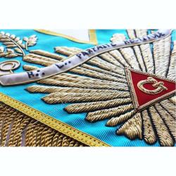 Sautoir de vénérable Maitre, RF, grande gloire, accia, banderole personnalisée, franges or, décors franc-maconnerie, cadeaux