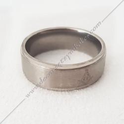 BFM040- bague-maconnique-acier-chrome-equerre-compas-bijoux-loges cadeaux-franc-maconnerie-hommes-femmes