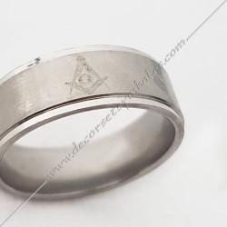 bague-maconnique-argent-acier-chrome-equerre-compas-bijoux-loges cadeaux-franc-maconnerie-rites-FM