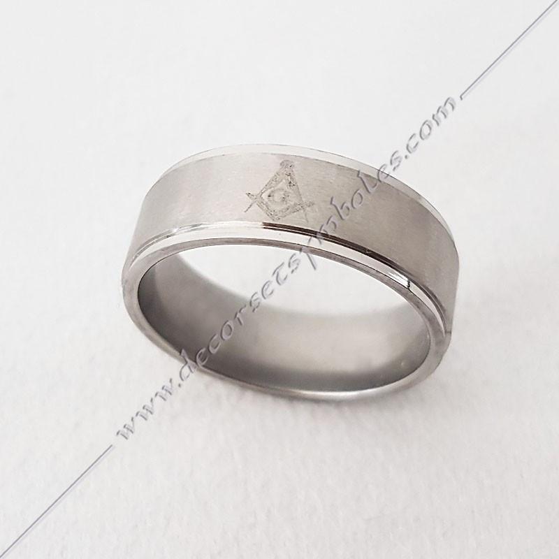 BFM040- bague-maconnique-acier-chrome-equerre-compas-bijoux-loges cadeaux-franc-maconnerie-rites-FM