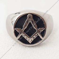 BFM060- chevaliere-bague-maconnique-acier-equerre-compas-bijoux-loges cadeaux-franc-maconnerie-rites-FM
