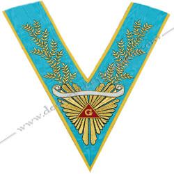 VRF 072 1B - Sautoir de Vénérable Maitre RF Groussier. Grande gloire, acacia, banderole personnalisée, décors FM