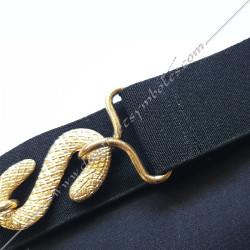 ceinture élastique noire, tablier de maitre, rite français, serpent doré , boucles, décors maçonniques, franc maçonnerie