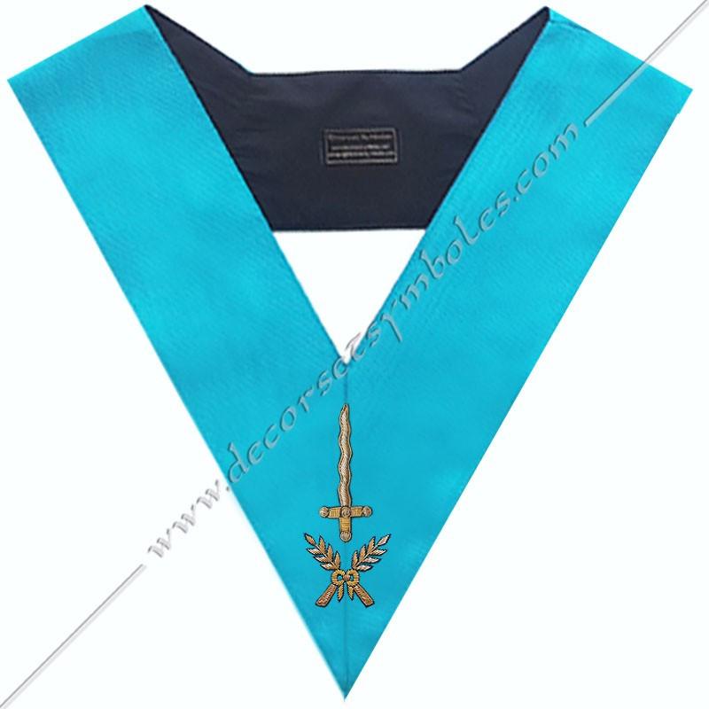 SRF 002 - Couvreur, sautoir d'officier du rite français groussier, acacia, décors maçonniques, bijoux, franc maçonnerie