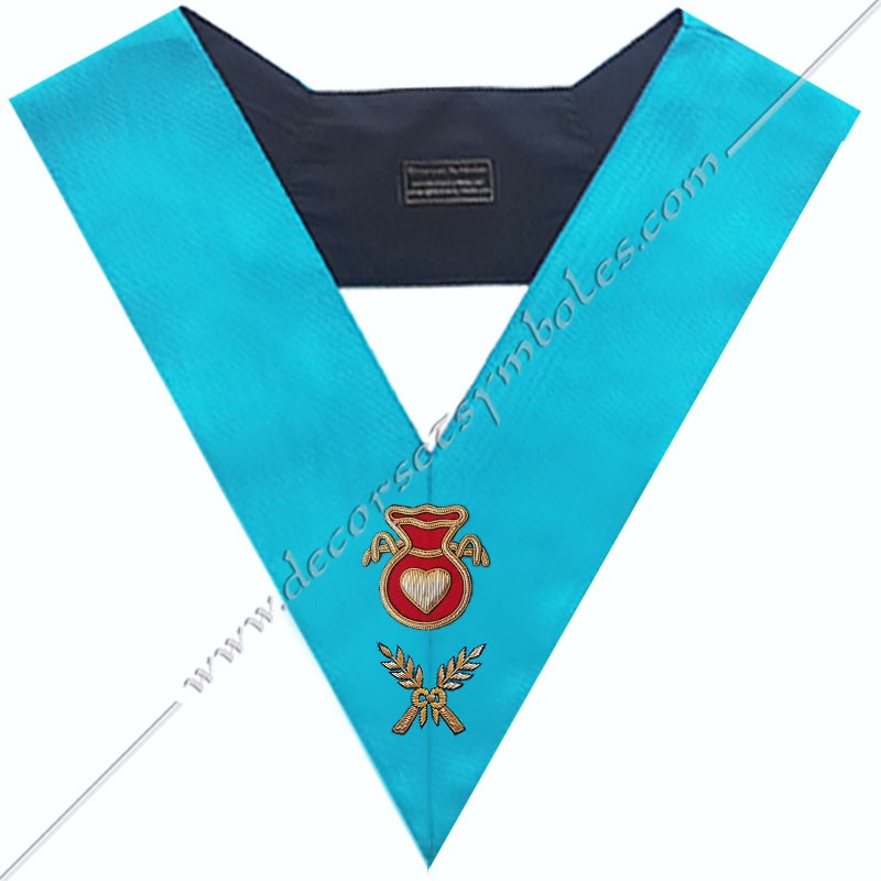 SRF 003 - Hospitalier, sautoir d'officier du rite français groussier, acacia, décors maçonniques, bijoux, franc maçonnerie