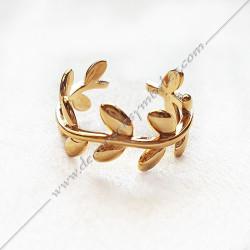 bague-maconnique-bijoux-loges-or-jaune-cadeaux-femmes-franc-maconnerie- feuilles-branches-acacia-decors-fm