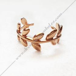 bague-maconnique-bijoux-loges-or-rose-cadeaux-femmes-franc-maconnerie- feuilles-branches-acacia-decors-fm