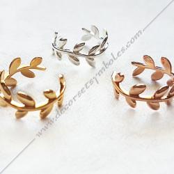 bagues-maconniques-bijoux-loges-or-jaune-cadeaux-femmes-franc-maconnerie- feuilles-branches-acacia-decors-fm