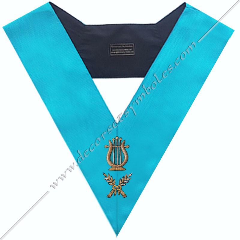 SRF 071 - Maitre de Musique, sautoir d'officier du RF groussier, acacia, décors maçonniques, bijoux, franc maçonnerie