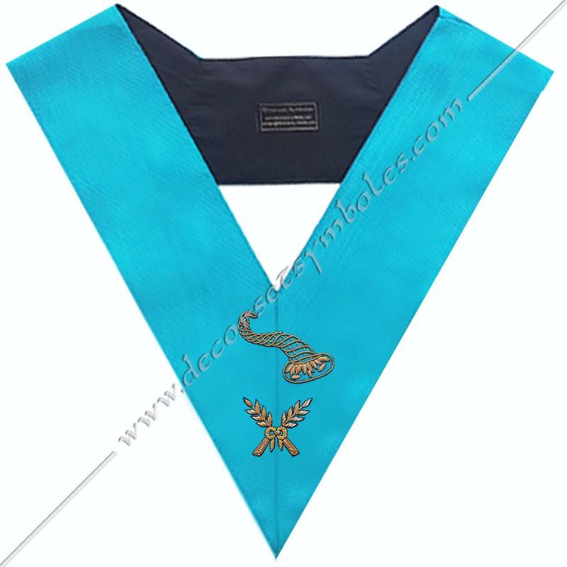 SRF 164 - Maitre des Banquets, sautoir d'officier du RF groussier, acacia, décors maçonniques, bijoux, franc maçonnerie