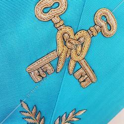 Trésorier, sautoir d'officier du rite français groussier, acacia, décors maçonniques, bijoux, franc maçonnerie, loges bleues