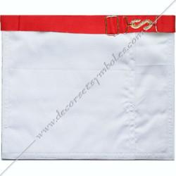 dos blanc, ceinture élastique, tablier de maitre, REAA , serpent doré , boucles, décors maçonniques, franc maçonnerie