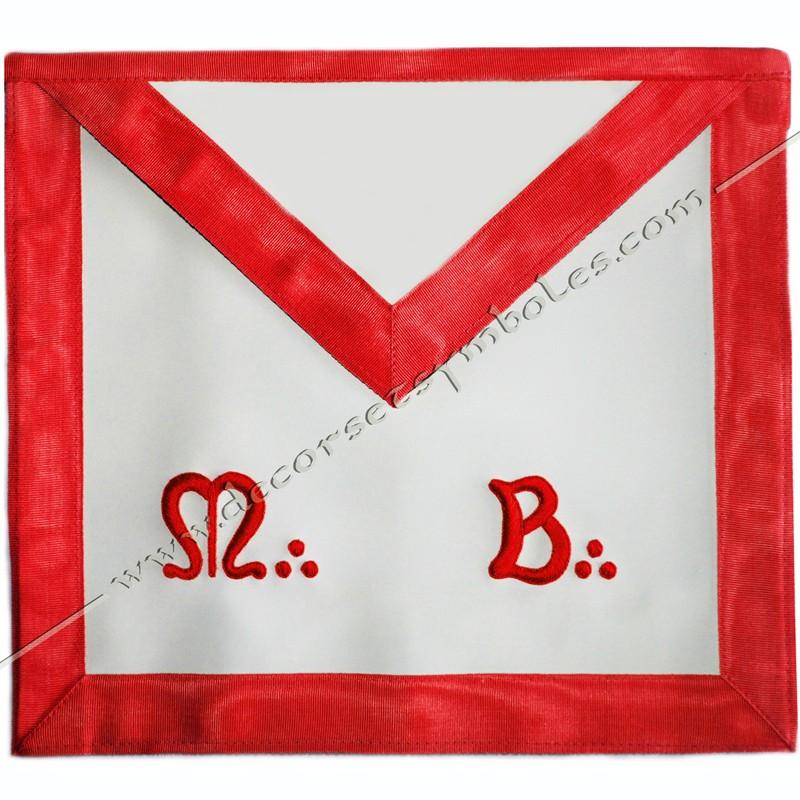 TRF 040R -Tablier maconnique de Maitre du REAA. Decors franc-maconnerie, ceinture élastique