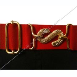 Tablier de maitre, REAA, ceinture élastique, boucle serpent dorée, accessoires, décors maçonniques, symboles, bijoux