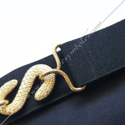ceinture élastique, tablier de maitre, rite français, serpent, doré, boucle, accessoire, décors maçonniques, FM, équerre, compas