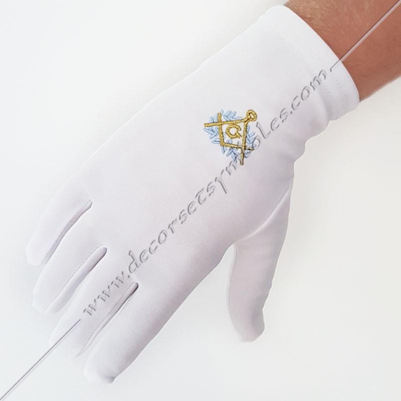 GCB070-gants-maconniques-brodes-blanc-decors-equerre-compas-bleu-or-acacia-franc-maconnerie-symboles-fm
