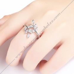 bagues-maconniques-ouverte-bijoux-loges-acier-diamant-strass-cadeaux-femmes-franc-maçonnerie-feuilles-branches-acacia-decors-fm