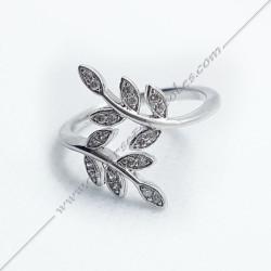 bagues-maconniques-bijoux-loges-argent-diamant-strass-cadeaux-femmes-franc-maconnerie- feuilles-branches-acacia-decors-fm