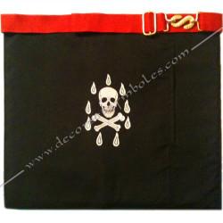 Tablier de maitre,REAA, dos noir, ceinture rouge, crane, gants, poche, qualité, accessoires, décors, franc maçonnerie