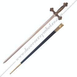 EPE050-epee-maconnique-droite-treflee-fourreau-manche-poigne-equerre-compas-decors-articles-cadeaux-accessoires-fm