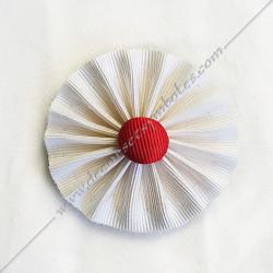 ACC024-cocardes-rosettes-blanches-bouton-rouge-rer-rite-ecossais-rectifie-cbcs-ecuyer-novice-decors-maconniques-symboles-fm-mesa