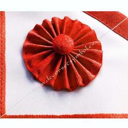 tablier de maitre, REAA, cocardes, rouge, simili cuir blanc, qualité, décors macaroniques, franc maçonnerie