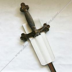 BAU110-baudrier-cuir-epee-rer-templier-porte-ceinture-blanc-fm-symboles-decors-maconniques-fm
