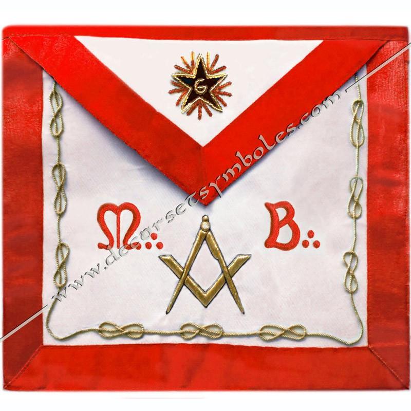 TRA 057R -Tablier maconnique de Maitre du REAA. Decors franc-maconnerie, accessoires loges, équerre, compas