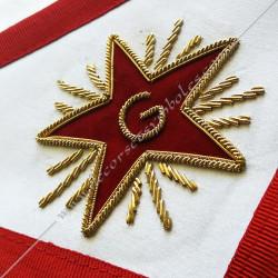 tablier de maitre, REAA, équerre compas, symboles, décors maçonniques, lac d'amour, étoile, broderie, qualité