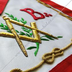 tablier de maitre, REAA, équerre compas, symboles, décors maçonniques, lac d'amour, acacia, broderies rouges