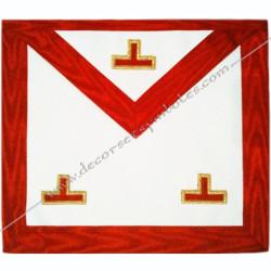 TRA 061R -Tablier maçonnique de Vénérable Maitre du REAA. Décors franc-maconnerie, taux dorés rouges