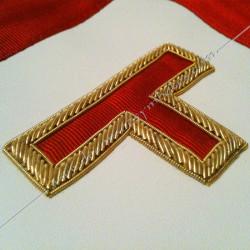 tablier maconniques, décors franc maçonnerie, symbole, tau, broderies or, accessoires, loges, REAA