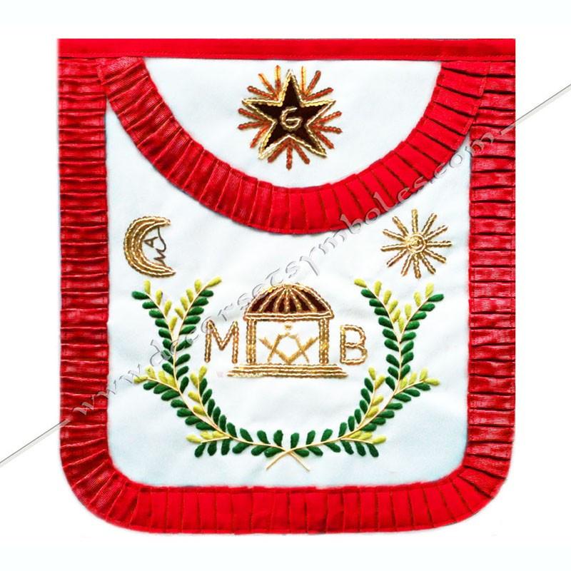 TRA 147R -Tablier maçonnique de Vénérable Maitre du REAA. Décors franc-maconnerie, symboles, acacia, temple