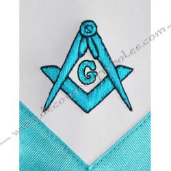 Tablier de maitre, RF, turquoise, M, B,  équerre compas, G, broderies main, décors maçonniques, symboles, cadeaux, bijoux
