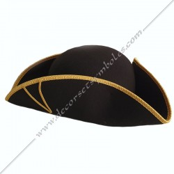 CHA007-tricorne-maconnique-souple-pliable-feutre-laine-noir-decors-loges-maitre-rer-coiffes-rite-regime-rectifie-fm