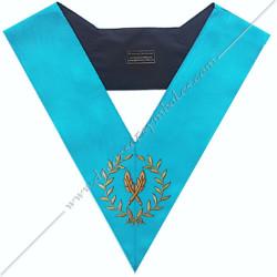 SRF 014 - Secrétaire, sautoir d'officier du rite français groussier, acacia, décors maçonniques, bijoux, franc maçonnerie