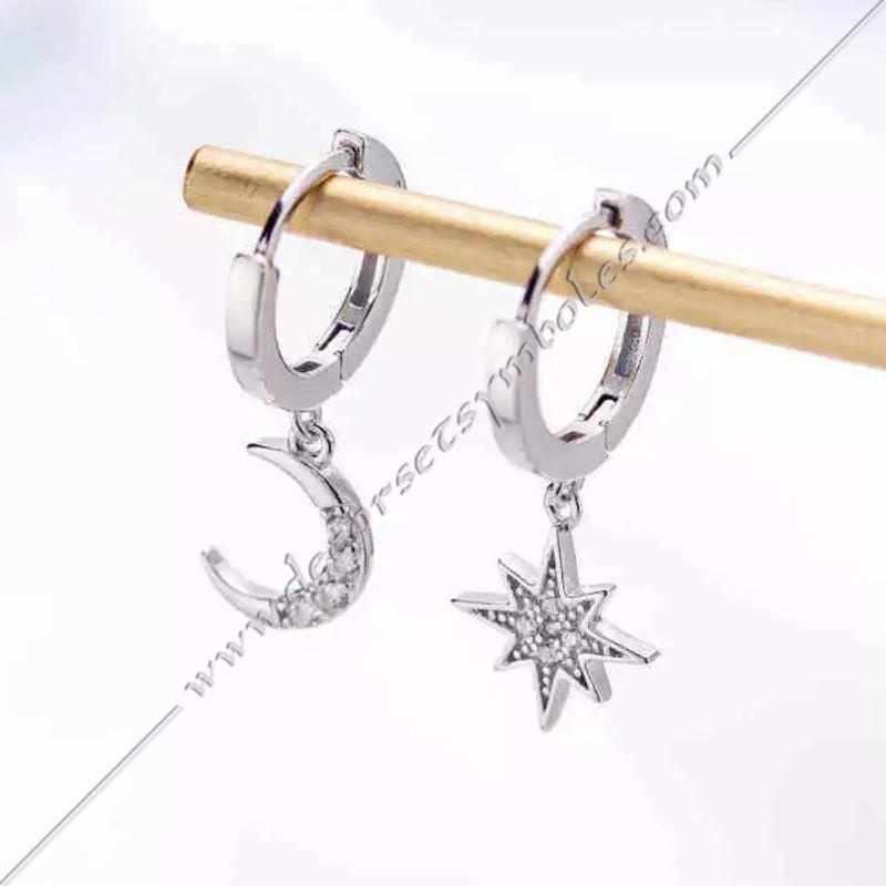 Boucles d'oreiles or argent lune et soleil et strass. Décors, symboles maconniques femmes. Cadeaux, accessoires fm