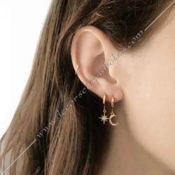 Boucles d'oreiles or argent lune et soleil et strass. Décors, symboles maconniques femmes. Cadeaux, bijoux fm