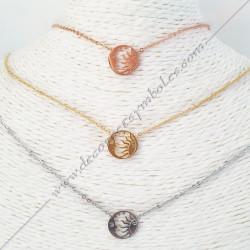 Collier doré rosé argenté symbole lune et soleil. Bijoux, cadeaux décors maconniques. Accessoires articles de franc maconnerie